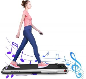 GYMAX Folding Treadmill - Under Desk Running Machine for Small Space